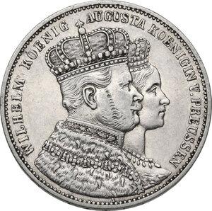 obverse: Germany.  Wilhelm I (1861-1888) and his wife, Augusta of Sachsen-Weimar-Eisenach.. AR Vereinstaler, Berlin mint, 1861 A