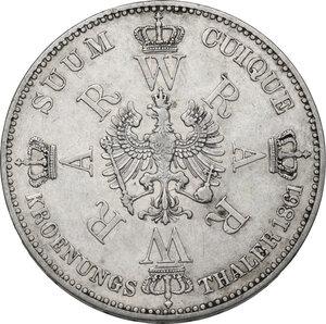 reverse: Germany.  Wilhelm I (1861-1888) and his wife, Augusta of Sachsen-Weimar-Eisenach.. AR Vereinstaler, Berlin mint, 1861 A