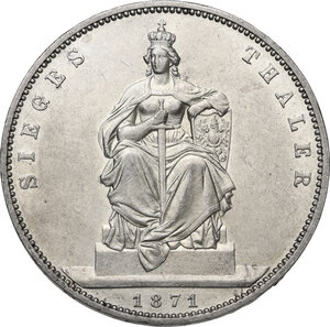 reverse: Germany.  Wilhelm I (1861-1888).. AR Taler, Berlin mint, 1871 A