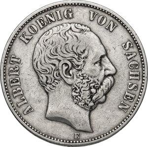 obverse: Germany.  Albert (1873-1902). AR 5 Mark, Dresden mint, 1876 E
