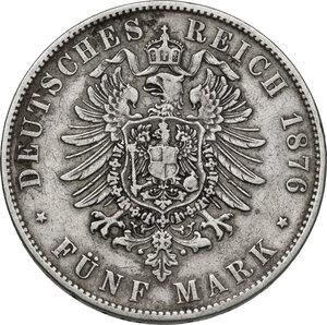 reverse: Germany.  Albert (1873-1902). AR 5 Mark, Dresden mint, 1876 E