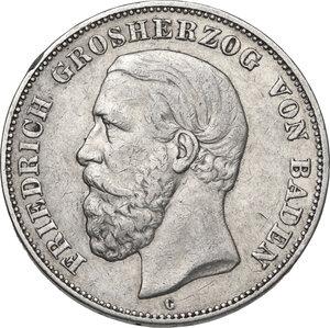 obverse: Germany.  Friedrich I (1856-1907).. AR 5 Mark, Karlsruhe mint, 1893 G