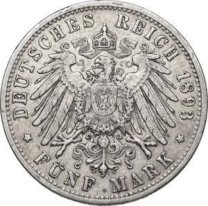 reverse: Germany.  Friedrich I (1856-1907).. AR 5 Mark, Karlsruhe mint, 1893 G