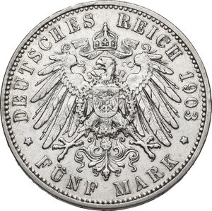 reverse: Germany.  Georg (1902-1904).. AR 5 Mark, Muldenhütten mint, 1903 E