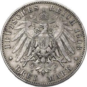 reverse: Germany.  Friedrich August III (1904-1918).. AR 3 Mark, Muldenhütten mint, 1908 E
