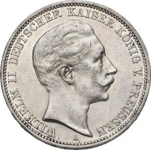 obverse: Germany.  Wilhelm II (1888-1918). AR 3 Mark, Berlin mint, 1909 A