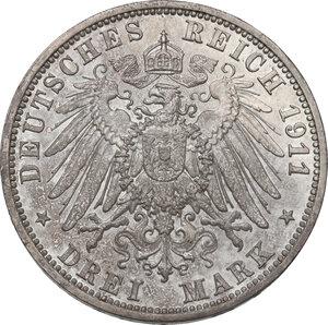 reverse: Germany.  Wilhelm II (1888-1918).. AR 3 Mark, Berlin mint, 1911 A