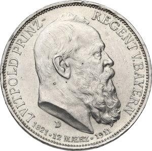 obverse: Germany.  Luitpold, Prince Regent of Bavaria (1821-1912). AR 3 Mark, Munich mint, 1911 D