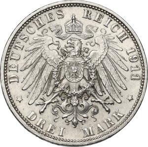 reverse: Germany.  Luitpold, Prince Regent of Bavaria (1821-1912). AR 3 Mark, Munich mint, 1911 D