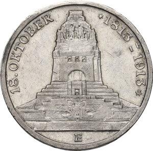 obverse: Germany.  Friedrich August III (1904-1918).. AR 3 Mark, Muldenhütten mint, 1913 E