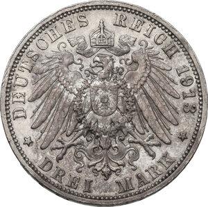 reverse: Germany.  Friedrich August III (1904-1918).. AR 3 Mark, Muldenhütten mint, 1913 E