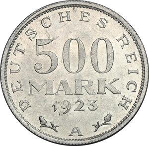 reverse: Germany.  Weimar Republic (1918-1933). AL 500 Mark 1923 A