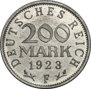 reverse: Germany.  Weimar Republic (1918-1933). AL 200 Mark 1923 F