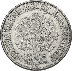 obverse: Germany.  Weimar Republic (1918-1933). AR 5 Reichsmark, Berlin mint, 1928 A