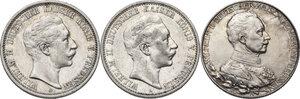obverse: Germany.  Wilhelm II (1888-1918).. Lot of three (3) AR 2 Mark, Berlin mint, 1903, 1907, 1913