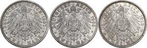 reverse: Germany.  Wilhelm II (1888-1918).. Lot of three (3) AR 2 Mark, Berlin mint, 1903, 1907, 1913