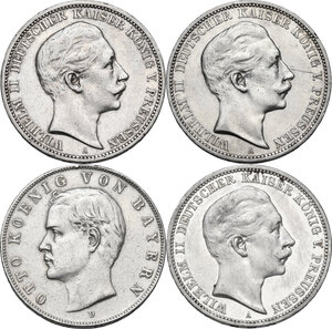 obverse: Germany. Lot of four (4) AR 3 Mark, including: 1908A, 1910A, 1910D and 1912A