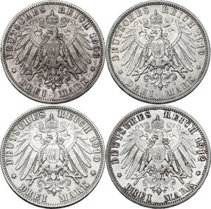 reverse: Germany. Lot of four (4) AR 3 Mark, including: 1908A, 1910A, 1910D and 1912A