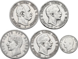 obverse: Germany. Lot of five (5) AR denominations, including: 1/2 Gulden 1840, Grand Duke Ludwig II, Hessen 5 Mark 1875 B (Hannover), 1901A and 1903A (Berlin), 1902D (Munich)