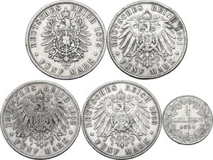 reverse: Germany. Lot of five (5) AR denominations, including: 1/2 Gulden 1840, Grand Duke Ludwig II, Hessen 5 Mark 1875 B (Hannover), 1901A and 1903A (Berlin), 1902D (Munich)