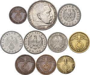 obverse: Germany.  Third Reich.. Lot of ten (10) coins: 5 reichsmark 1939 A, reichsmark 1933 E, 50 reichspfennig 1942 B, 50 reichspfennig 1936 A, 50 reichspfennig 1935 G, 10 reichspfennig 1939 D, 5 reichspfennig 1939 F, 2 pfennig 1938 D, 2 pfennig 1939 D, pfennig 1939 D