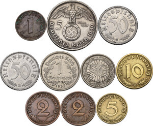 reverse: Germany.  Third Reich.. Lot of ten (10) coins: 5 reichsmark 1939 A, reichsmark 1933 E, 50 reichspfennig 1942 B, 50 reichspfennig 1936 A, 50 reichspfennig 1935 G, 10 reichspfennig 1939 D, 5 reichspfennig 1939 F, 2 pfennig 1938 D, 2 pfennig 1939 D, pfennig 1939 D