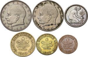 obverse: Germany.  Federal Republic. Lot of six (6) coins: 2 mark 1958 D, 1958 F, 50 pfennig 1949 D, 10 pfennig 1949 D, 5 pfennig 1949 J, pfennig 1949 D