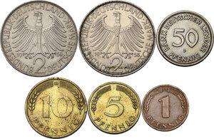 reverse: Germany.  Federal Republic. Lot of six (6) coins: 2 mark 1958 D, 1958 F, 50 pfennig 1949 D, 10 pfennig 1949 D, 5 pfennig 1949 J, pfennig 1949 D