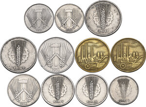 obverse: Germany DDR. Lot of eleven (11) coins: 50 pfennig 1950 A (2), 10 pfennig 1948 A, 1949 A, 1953 E, 5 pfennig 1948 A (2), 1953 E, pfennig 1950 A, 1952 A, 1952 E