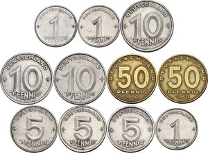 reverse: Germany DDR. Lot of eleven (11) coins: 50 pfennig 1950 A (2), 10 pfennig 1948 A, 1949 A, 1953 E, 5 pfennig 1948 A (2), 1953 E, pfennig 1950 A, 1952 A, 1952 E