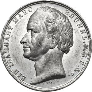 obverse: Great Britain.  Isambart Marc Brunel, inventor, engineer and architect (1769-1849).. Tin Medal, 1842