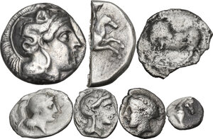 obverse: Greek Italy. Multiple lot of six (6) AR unclassified coins, in addiction an interesting halved fourrée Nomos of Tarentum. Noted incuse Drachm of Sybaris