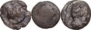 obverse: Greek Italy. Multiple lot of three (3) unclassified AR Diobols of Tarentum and Heraclea