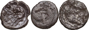 reverse: Greek Italy. Multiple lot of three (3) unclassified AR Diobols of Tarentum and Heraclea