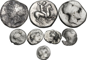 obverse: Greek Italy. Multiple lot of eight (8) unclassified AR coins: 3 Staters and 5 Fractions
