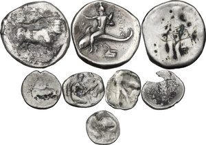 reverse: Greek Italy. Multiple lot of eight (8) unclassified AR coins: 3 Staters and 5 Fractions