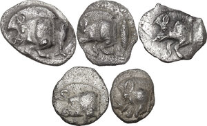 obverse: Greek Asia. Mysia, Kyzikos. Multile lot of five (5) AR Fractions