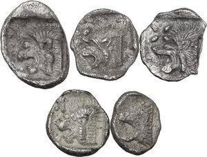 reverse: Greek Asia. Mysia, Kyzikos. Multile lot of five (5) AR Fractions