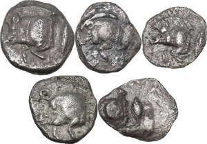 obverse: Greek Asia.. Multiple lot of five (5) unclassified AR early Fractions