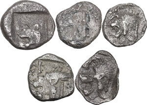 reverse: Greek Asia.. Multiple lot of five (5) unclassified AR early Fractions