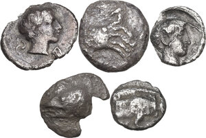 obverse: Greek Asia.. Multiple lot of five (5) unclassified AR Fractions