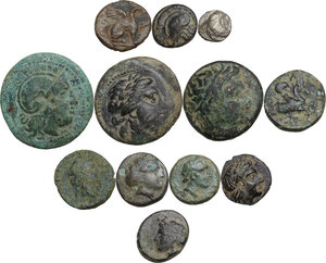 obverse: Greek World.. Multiple lot of twelve (12) unclassified AE and AR coins