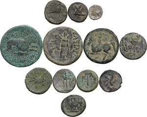 reverse: Greek World.. Multiple lot of twelve (12) unclassified AE and AR coins
