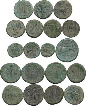 reverse: Greek World.. Multiple lot of nineteen (19) unclassified AE coins