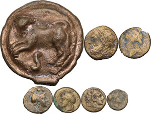 obverse: Greek Italy and Roman Republic. Multiple lot of seven (7) AE coins, including AE Cast Semis of Roma/Wheel series