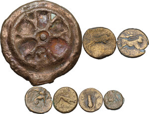 reverse: Greek Italy and Roman Republic. Multiple lot of seven (7) AE coins, including AE Cast Semis of Roma/Wheel series