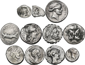 The Roman Republic. Multiple lot of eleven (11) AR unclassified coins: 8 AR Denarii, a fragment of AR Denarius, AR Sestertius and AR Quinarius of Fulvia