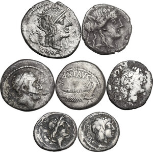 obverse: The Roman Republic. Lot of seven (7) unclassified AR coins