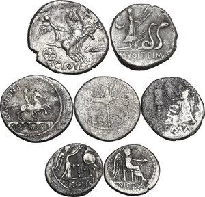 reverse: The Roman Republic. Lot of seven (7) unclassified AR coins