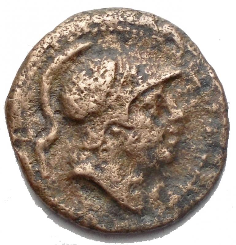obverse: Repubblica Romana - Monetazione Anonima.(Circa 241-235 a.C). Litra.D/ Testa elmata di Marte a destra. R/ Protome di cavallo a destra, dietro falcetto, sotto ROMA. AE. g 2,46. mm 16,8. Crawford 25/3. qBB/MB+